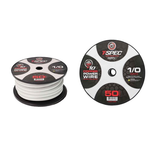 1-0 AWG 50FT MATTE PEARL OFC POWER WIRE - v10 SERIES