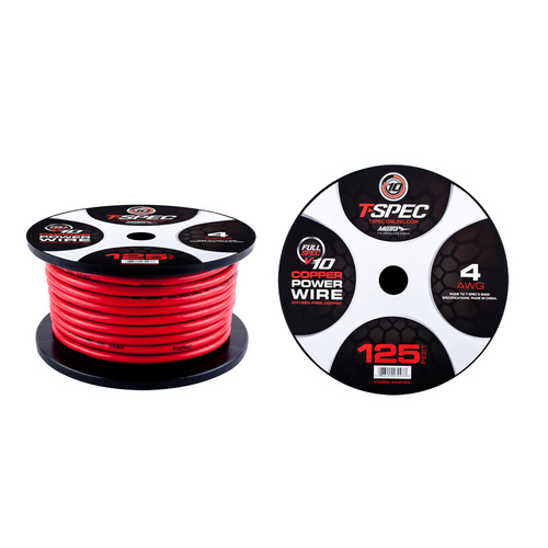 4 AWG  125FT MATTE RED OFC POWER WIRE - v10 SERIES