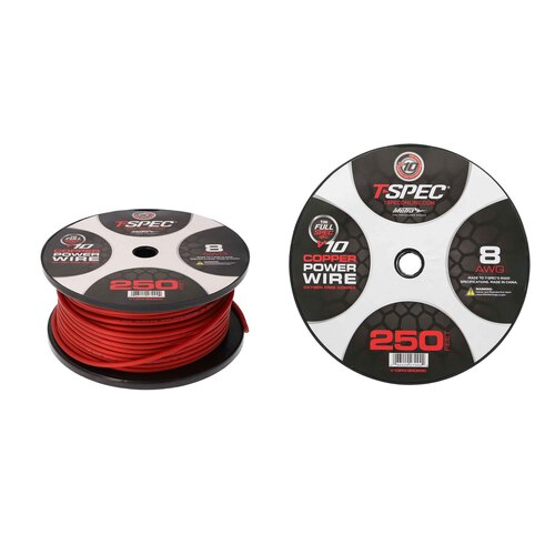 8 AWG  250FT MATTE RED OFC POWER WIRE - v10 SERIES