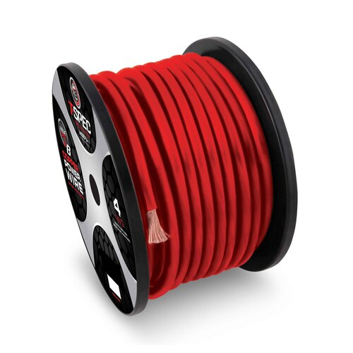 8 AWG 250FT MATTE RED OFC POWER WIRE - v12 SERIES